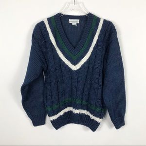 VINTAGE Cable Knit Slouchy Sweater Varsity Stripe